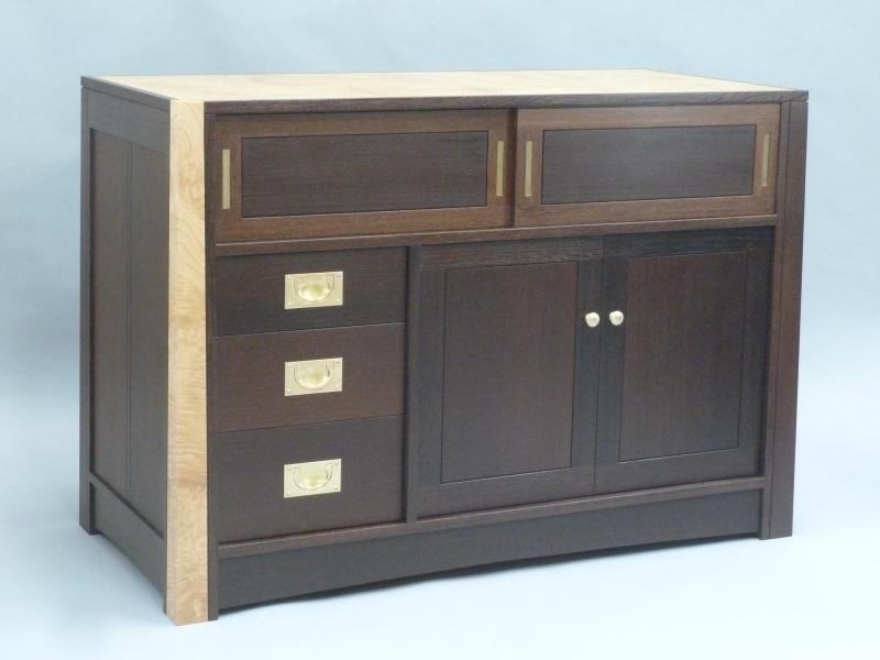 Front view of dark wenge cabinet with light chestnut top