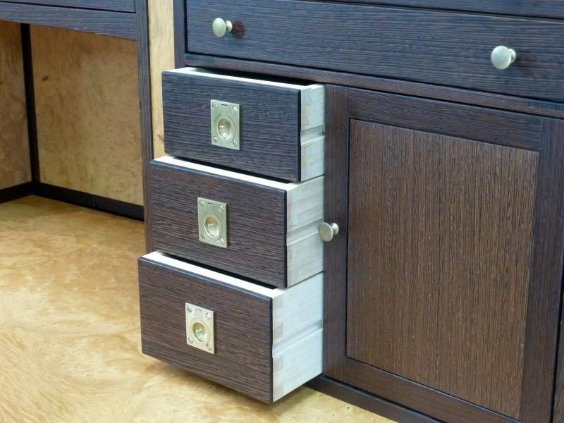 Detail of hand cut drawer dovetails